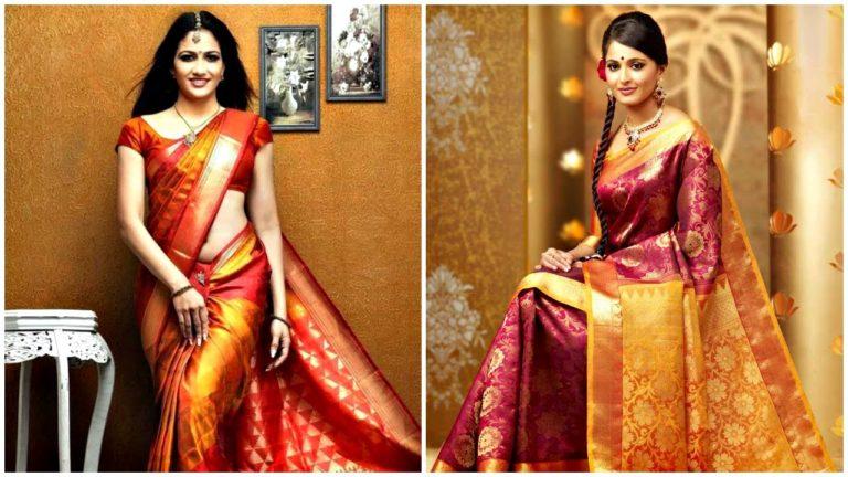Wearing Plain Blouse with Enticing and Graceful Kanjivaram Sarees